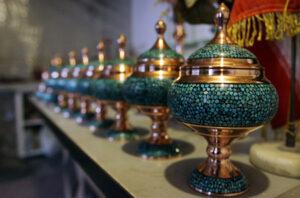 turquoise62 300x198 - هنر فیروزه کوبی بر روی مس، برنج، نقره، ورشو و برنز