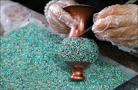 هنر فیروزه کوبی بر روی مس، برنج، نقره، ورشو و برنز
